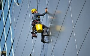 Abseiling for window cleaning and building maintenance